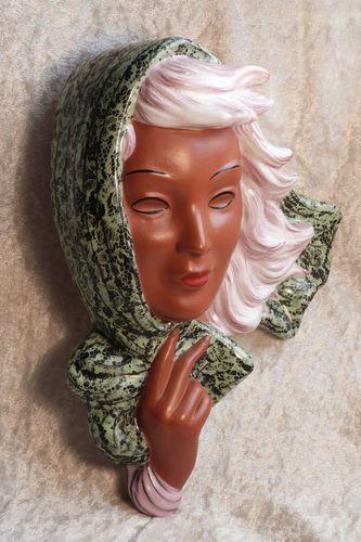 RARE Goldscheider Artist Thomasch Art Deco Lady's Face Head Wall Mask Hand | eBay