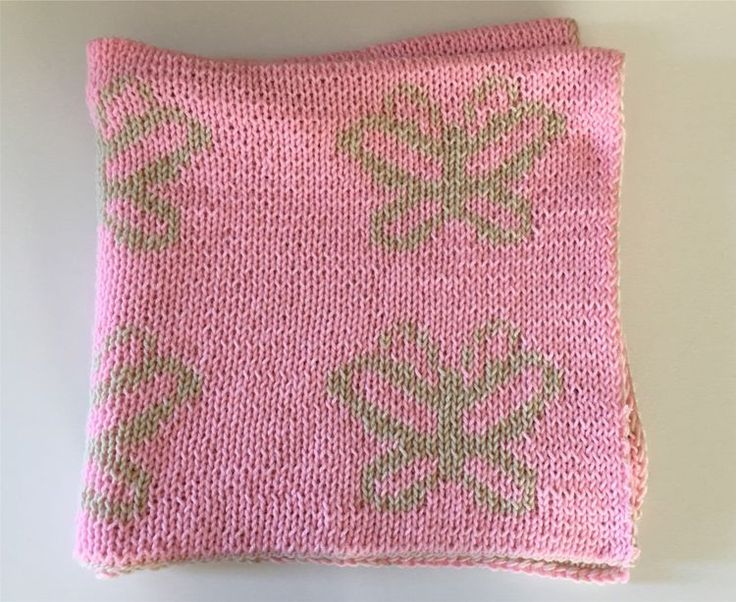 Knitted Baby Blanket Pink Butterflies Soft - Hand Knitted - Newborn Baby Photo Prop - Crib Blanket - Reversible Blanket - Thick Blanket Soft by HazelknitLatte on Etsy https://www.etsy.com/listing/486777673/knitted-baby-blanket-pink-butterflies