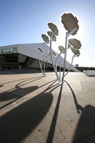 solar trees, Adelaide Festival Centre Plaza, Adelaide, Australia - photovoltaic panels to recharge their batteries during the day. They light up and cycle through different colours at night