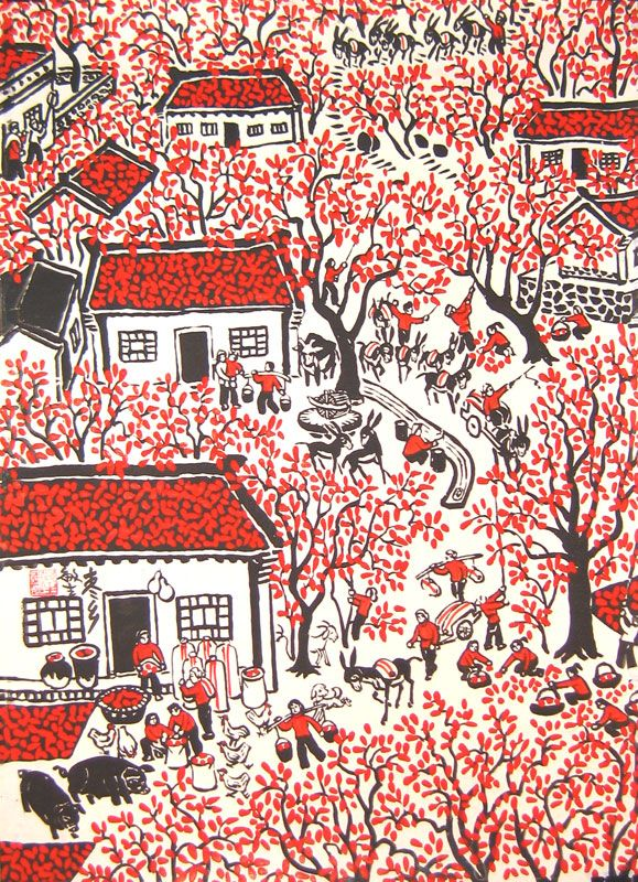 Chinese folk art paintings - Village in the Autumn