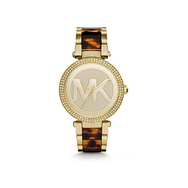Michael Kors Parker Pavé Gold-Tone and Tortoise Acetate Watch,... ($193) ❤ liked on Polyvore featuring jewelry, watches, gold jewelry, michael kors, yellow gold watches, gold wrist watch and tortoise shell watches