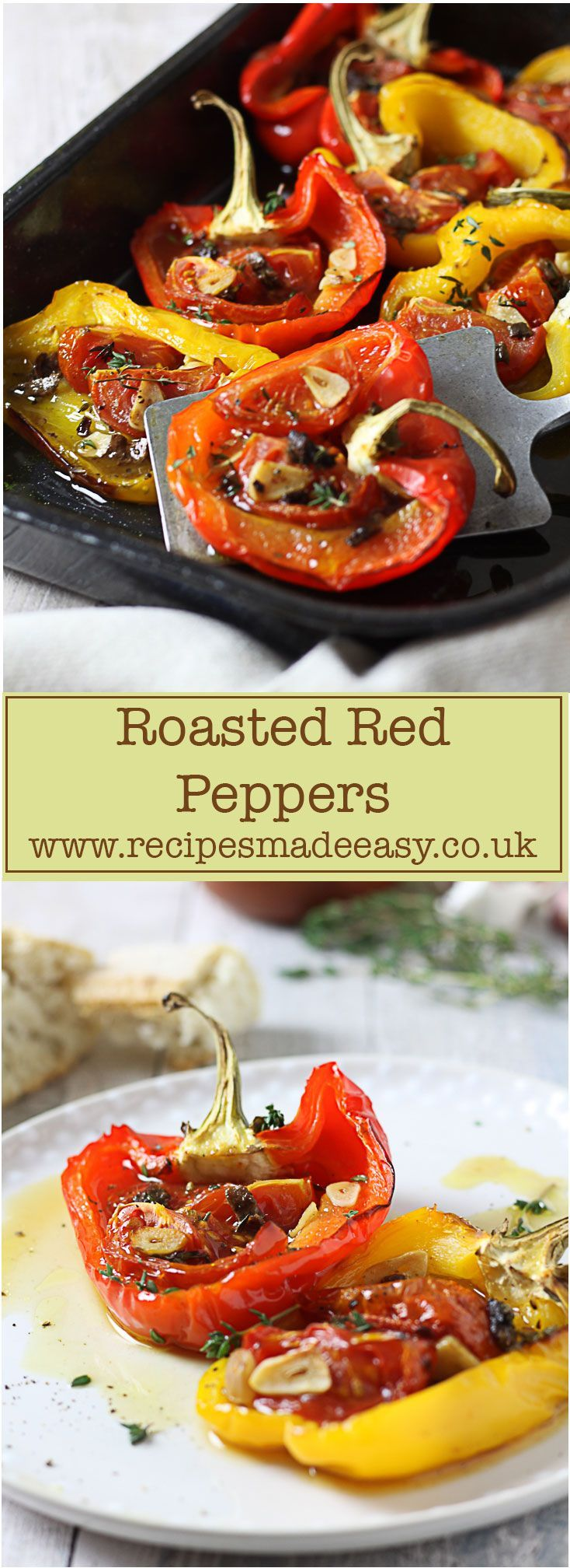 roasted peppers in roasting tin and plated
