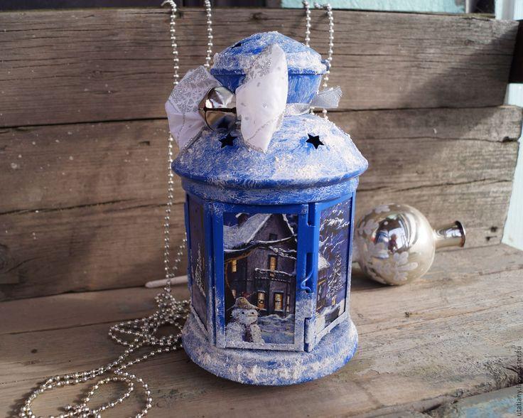 """Купить Фонарик для свечи """"Зимний вечер"""" - темно-синий, фонарь, фонарик, фонарь икея, зима"""