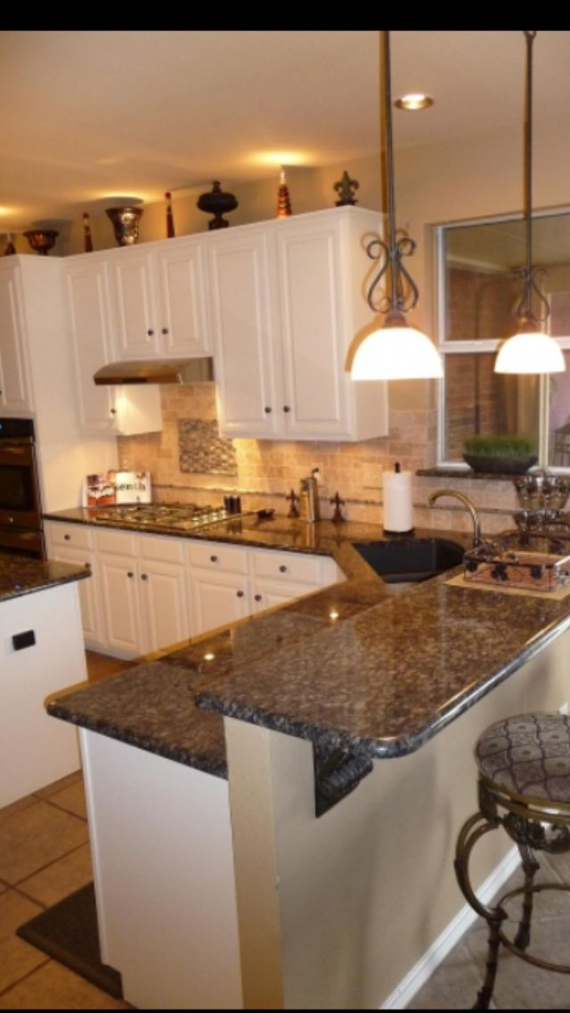 Blue granite with white cabinets  Kitchens  Pinterest