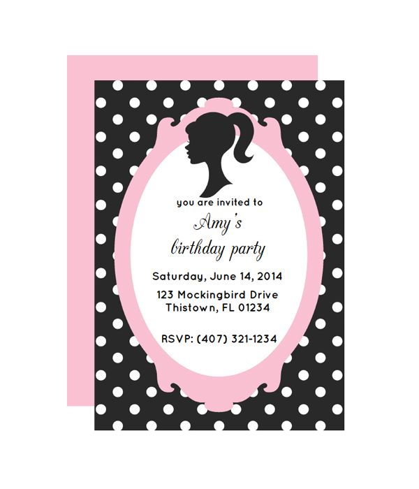 The 25 best free printable invitations ideas on pinterest glamour doll party invitation stopboris Image collections