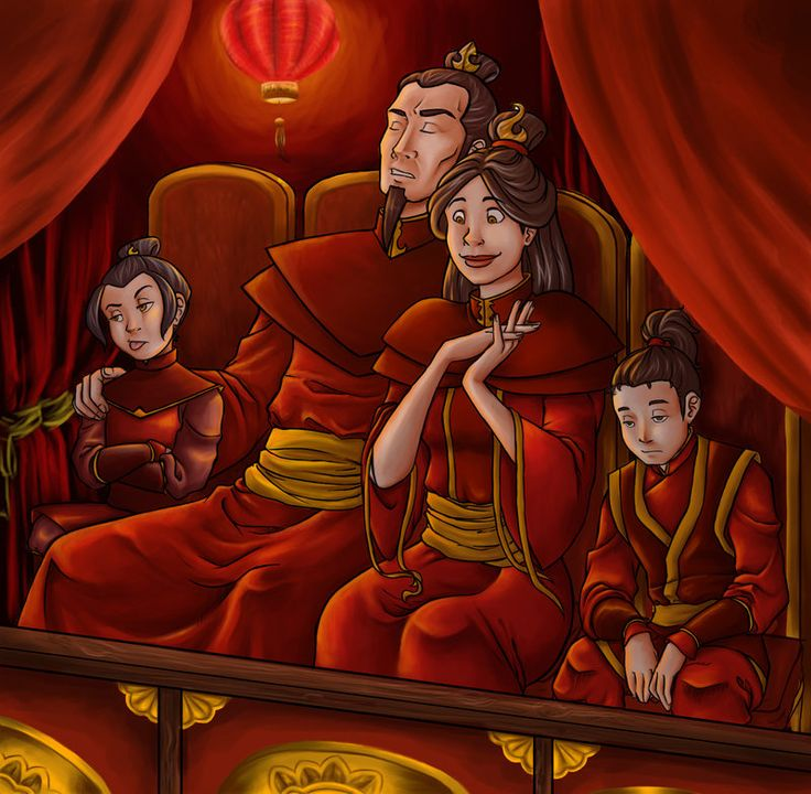 the Firelord's family..... I actually love this. I think it's before Ozai went nuts. I see this as so cute, Mom wanted to go see a play and everyone else is in agony :)