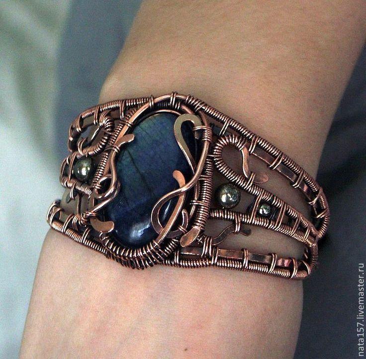 """Купить Медный браслет """"Византия"""" - браслет, Браслет ручной работы, браслет из проволоки, медный браслет"""