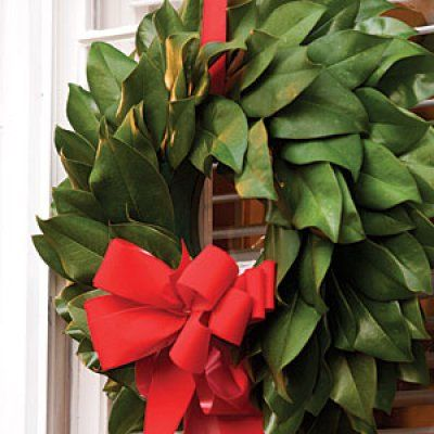Making Magnolia Wreaths: Finish with Red Velvet Bow. Site has instructions.