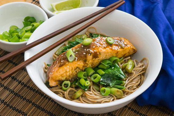 Ginger & Soy Glazed Salmon with Chinese Broccoli & Soba Noodles  The ginger and soy glaze you will prepare for the salmon is loaded with aromatics that smell as good as they taste. The flavours of ginger, garlic and spring onion perfectly complements salmon's oily goodness. Salmon is a nutritional powerhouse and one of the best sources of DHA. For your greens, this recipe has a healthy serve of local Chinese broccoli, or Kai Lan. #youplateit