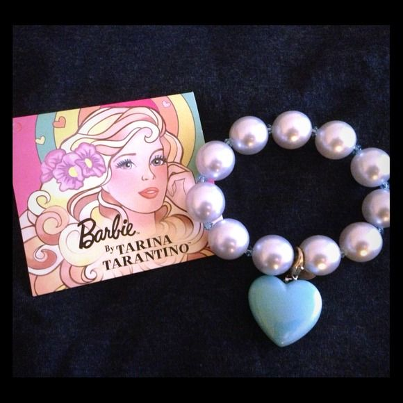 Tarina Tarantino Barbie pearl bracelet Tarina Tarantino Barbie pearl and heart bracelet, silver grey pearl and blue heart bracelet, super  Tarina Tarantino Barbie Collection  Jewelry Bracelets