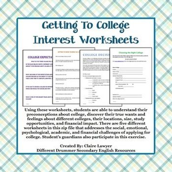 This contains 6 different files that help students explore the emotional, mental, academic, physical, and geographical limitations or expectations that comes with finding the right college or university.