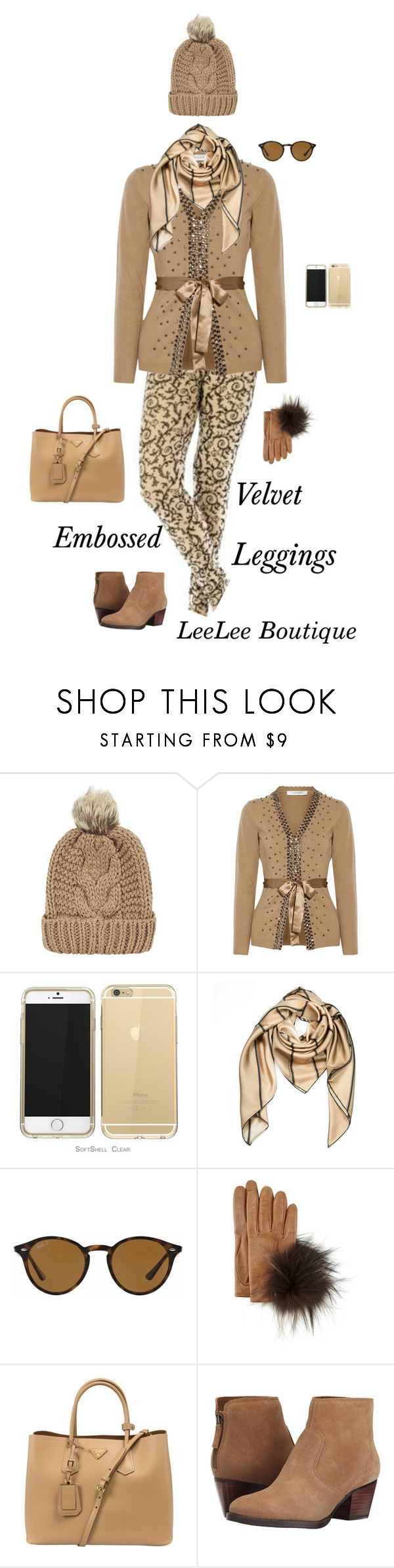 """""""Embossed Velvet Nude Leggings"""" by leeleeboutique ❤ liked on Polyvore featuring Chicnova Fashion, Valentino, Burberry, Ray-Ban, Inverni, Prada and Nine West"""