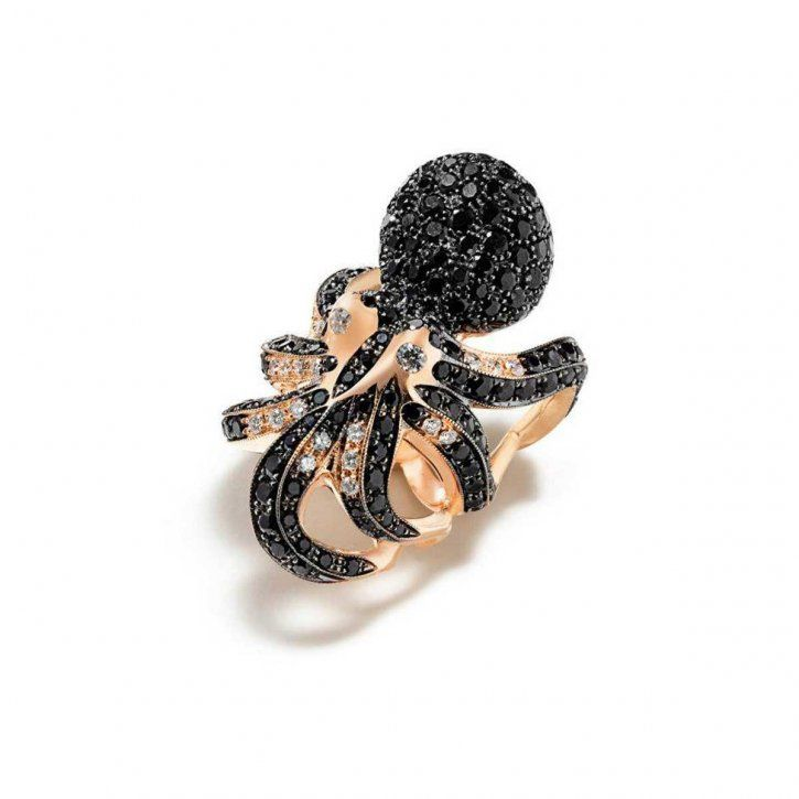 Кольцо с крупным осьминогом из розового золота