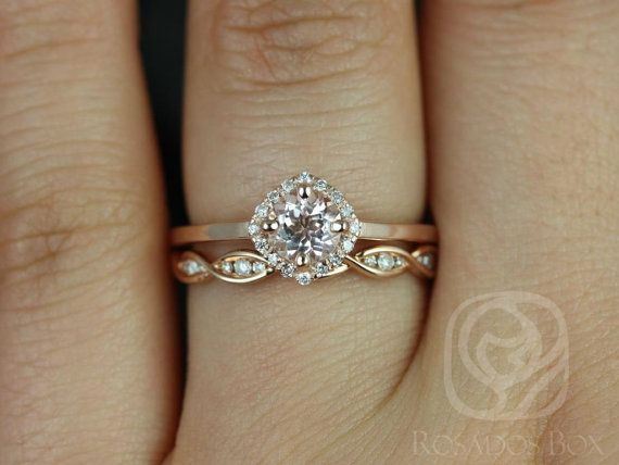 Kyla 5mm & Ember 14kt Rose Gold Morganit und Diamant von RosadosBox