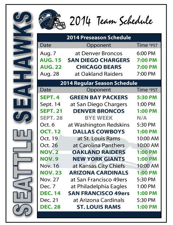 2014 Seattle Seahawks Football Schedule Magnet  #Magnet