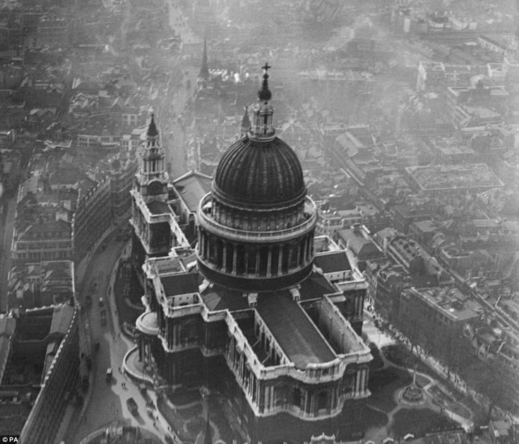 Aerial view: More than 15,000 photographs, including this picture of St Paul's Cathedral in London from March 1921, have been made freely available on the internet for the first time.  www.britainfromabove.org.uk
