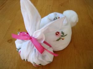 Making a Hankie Bunny Out of Wedding Handkerchiefs DIY Tutorial. Perfect Easter Craft