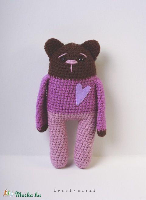 Meska - Horgolt medve levendulával töltve, neve Laci ircsisufni kézművestől  #crochet #crochettoy #bear #toy #purple