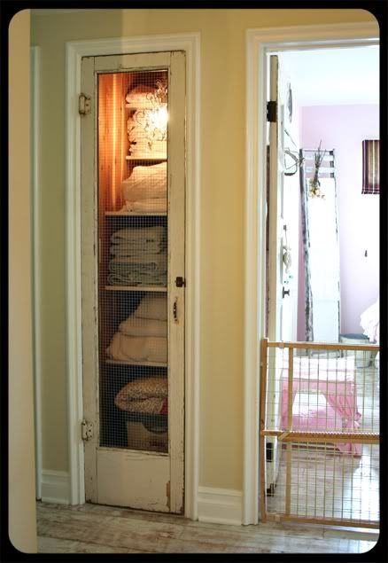 Finest Love This Mini Screen Door On The Linen Closet Thatus Hardware Cloth  Note With Vintage Pantry Doors