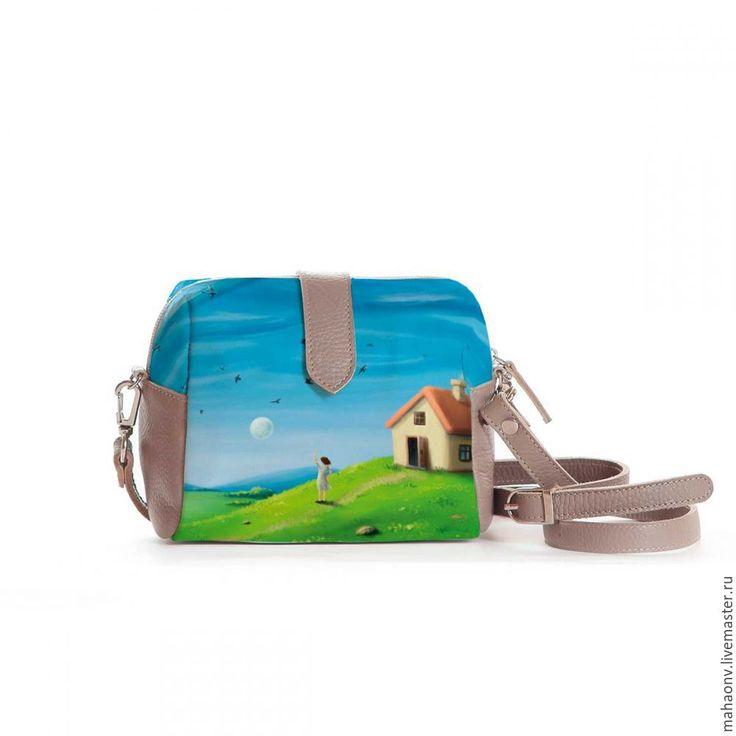 Купить Cумочка кросс-боди Зеленые холмы - разноцветный, подарок, сумка, сумка женская