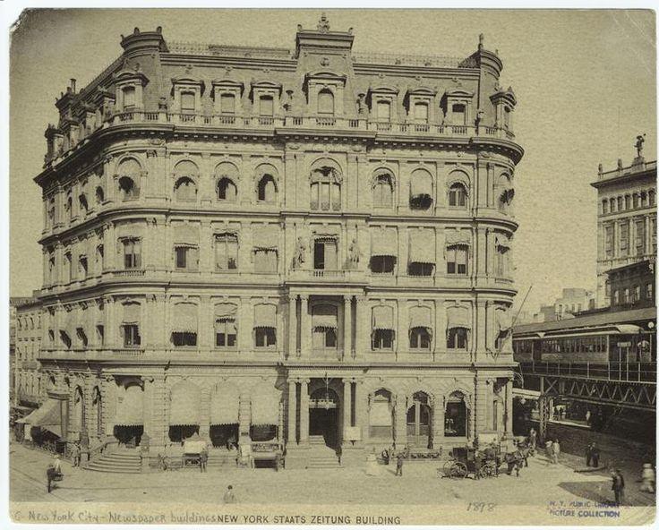 Centre Street near Chambers Street.. New Yorker Staats-Zeitung Building