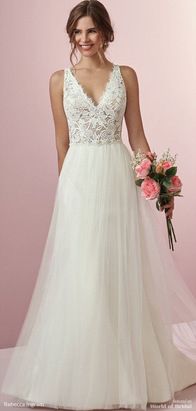 A Line Wedding Dresses Picture Description Rebecca Ingram Fall 2018 Boho Dress This Features Sheer Bodice Accented