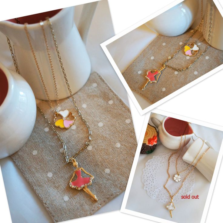 Ballet Girl & Flower doubled necklaces, can be separated to match with ladies' outfit... Handmade, versatile and elegant...