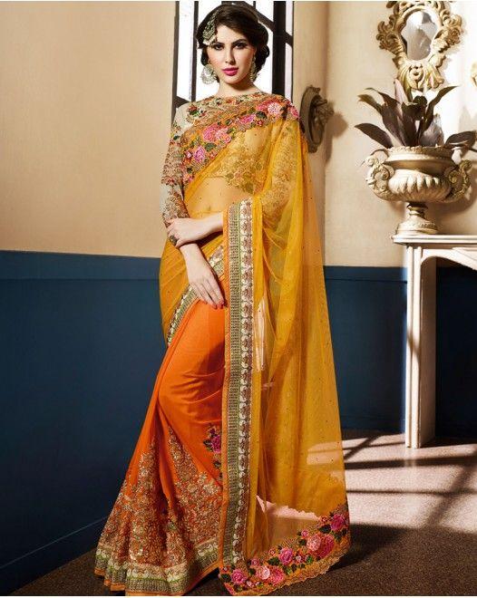 Excellent Yellow And Orange Color Designer Saree #designersareeswedding #latestdesignersarees #indiandesignersarees #designersareescouture #designersareesforgirls #designersarees2017 #floraldesignersarees #plaindesignersarees #whitedesignersarees #designersareespartywear #bollywooddesignersarees #simpledesignersarees #vogueindia #lakmefashionweek #bollywood #fashion #shopping #usa #india #indianwear
