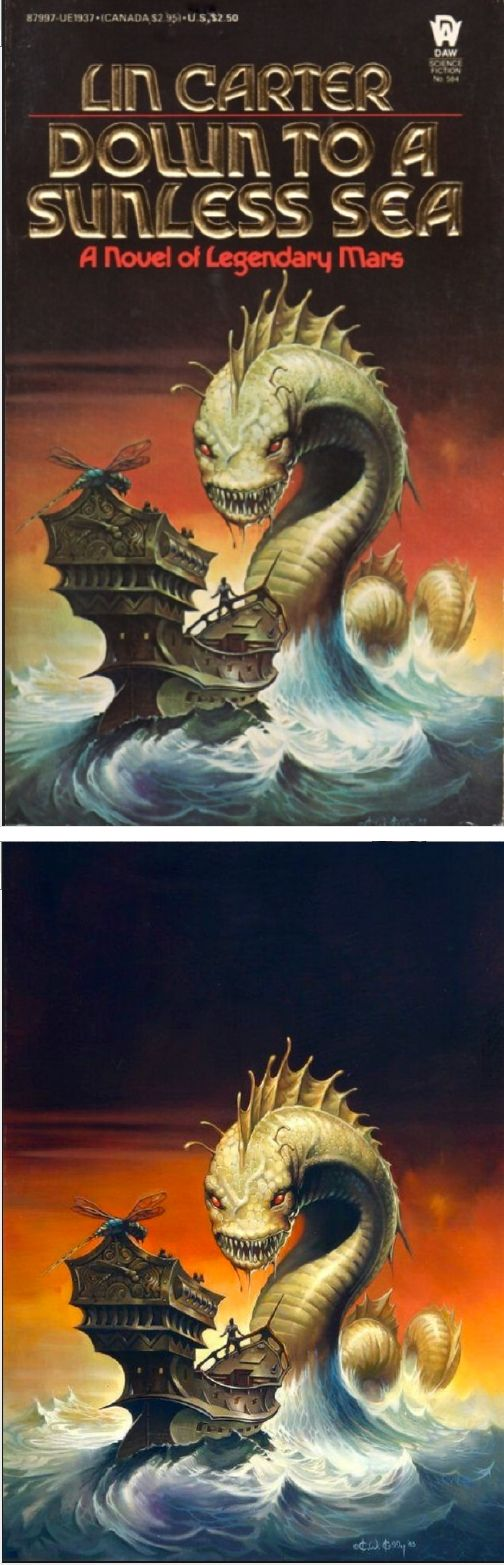 KEN KELLY - Down to a Sunless Sea by Lin Carter - 1984 DAW Books - cover by isfdb - print by sorcerersskull.tumblr