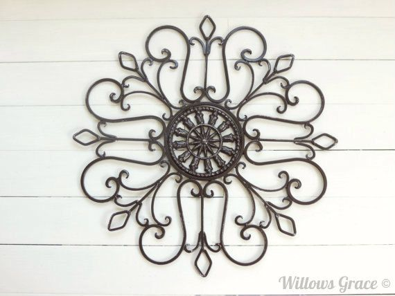 Metal wall scroll outdoor decor wall medallion by for Iron scroll wall art