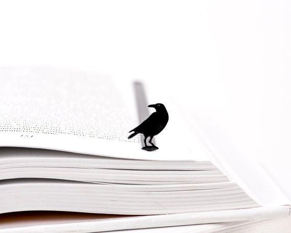 Metal Book Bookmark RAVEN // unique design by CoolBookmark on Etsy