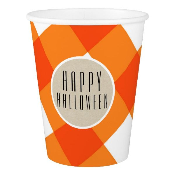 Orange White Plaid Kraft Rustic Monogram Initial Paper Cup #halloween #holiday #drinkware #party #cups