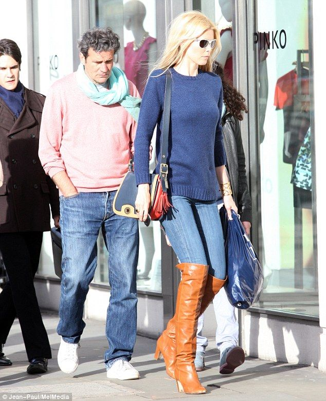 The longest leg: German supermodel Claudia Schiffer showed off her long legs as she shopped in west London on Thursday