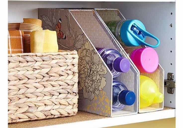 Magazine holder for water bottle storage