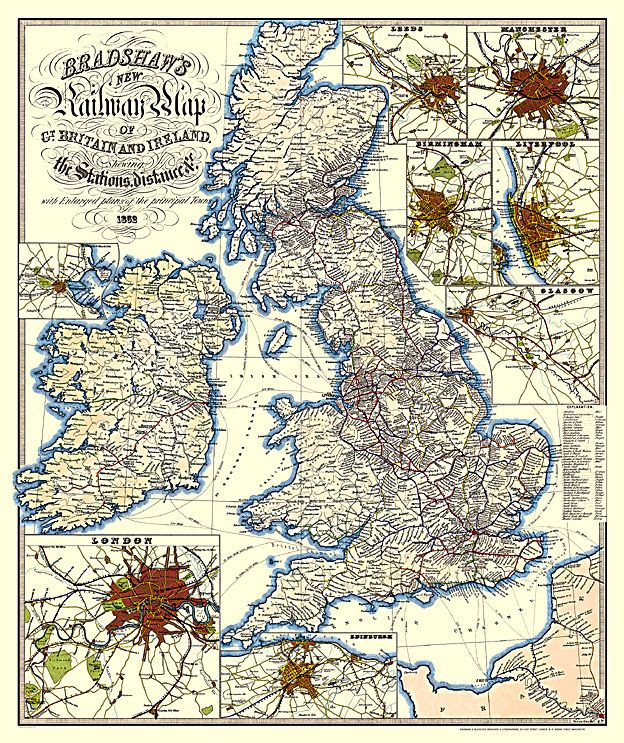 Bradshaw Railway map of the #British Isles, 1852