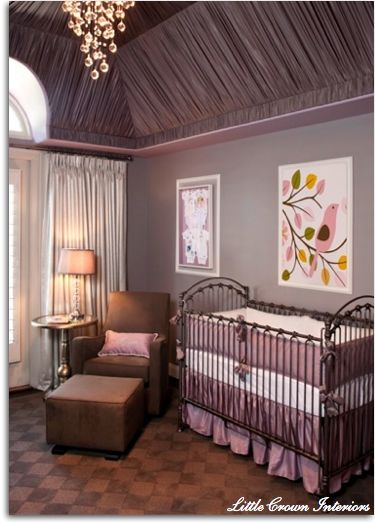 purple and gray baby's room