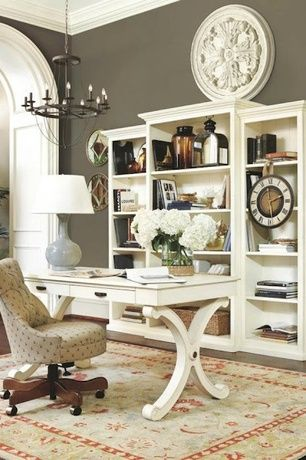 Traditional Home Office with Crown molding, Floral wall medallion - pottery barn, Hardwood floors, Antique White Writing Desk