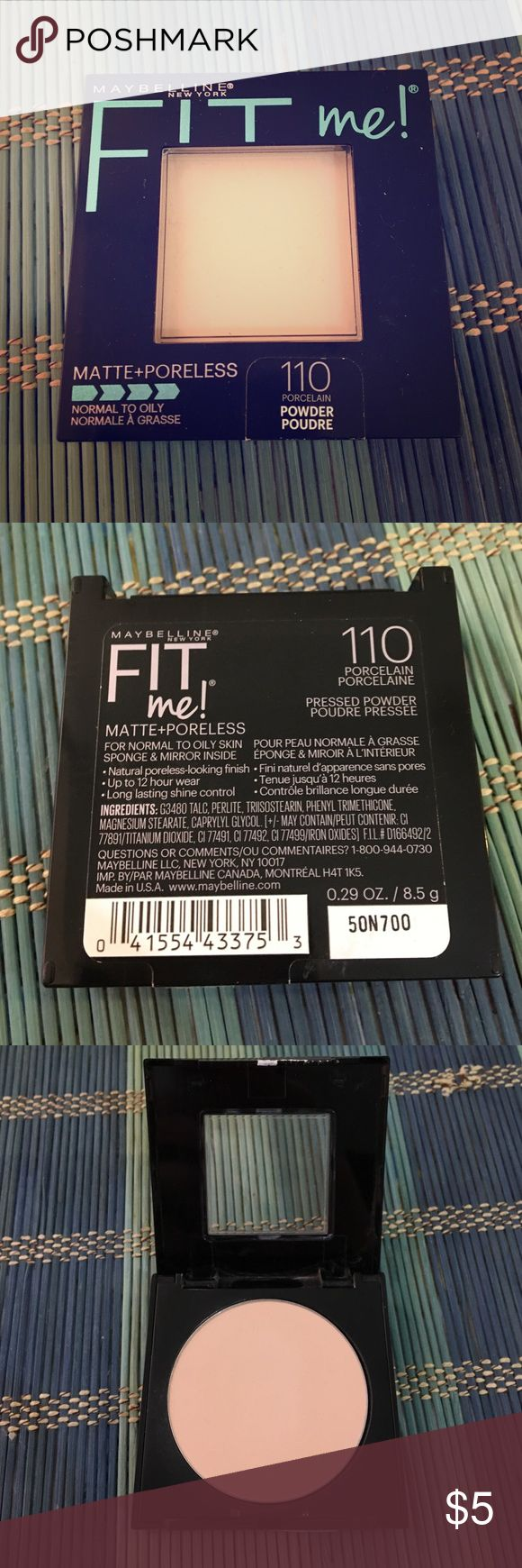 """Maybelline FIT Me Powder Foundation! Pressed powder foundation in the shade """"110- Porcelain"""". Used a few times but in FANTASTIC condition! I've kept the sponge it comes with for sanitary purposes. If you have any questions, please feel free to ask them below 😍 Happy shopping, my lovelies! ❤️🛍❤️ Maybelline Makeup Face Powder"""