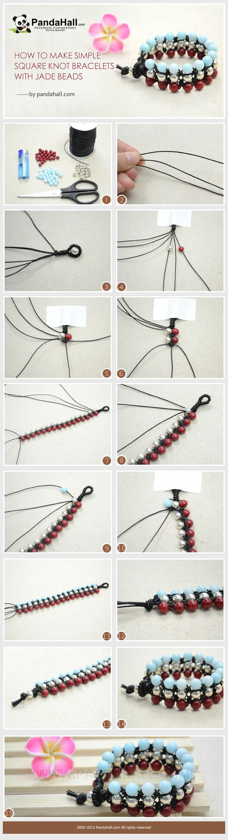 #DIY How to Make Simple Square Knot Bracelets with Jade Beads