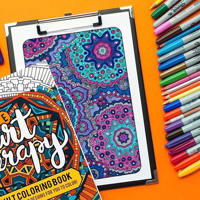"""This pattern from the """"Ultimate Art Therapy"""" adult coloring book has been colored by Linda Franklin   For adult coloring books, free adult coloring pages and coloring tips, visit www.sarahrenaeclark.com"""