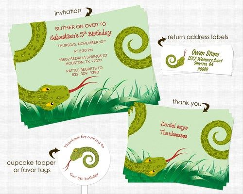 Printable Snake Or Reptile Birthday Party Invitation