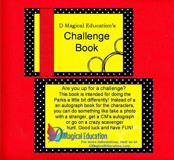 Challenge Book for Disney World Magic Kingdom EPCOT Workbook Autograph Book Scavenger Hunt