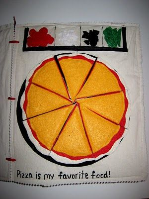 Clever and fun quiet book page. Pizza toppings are stored at the top of the page, and you get to put them on!