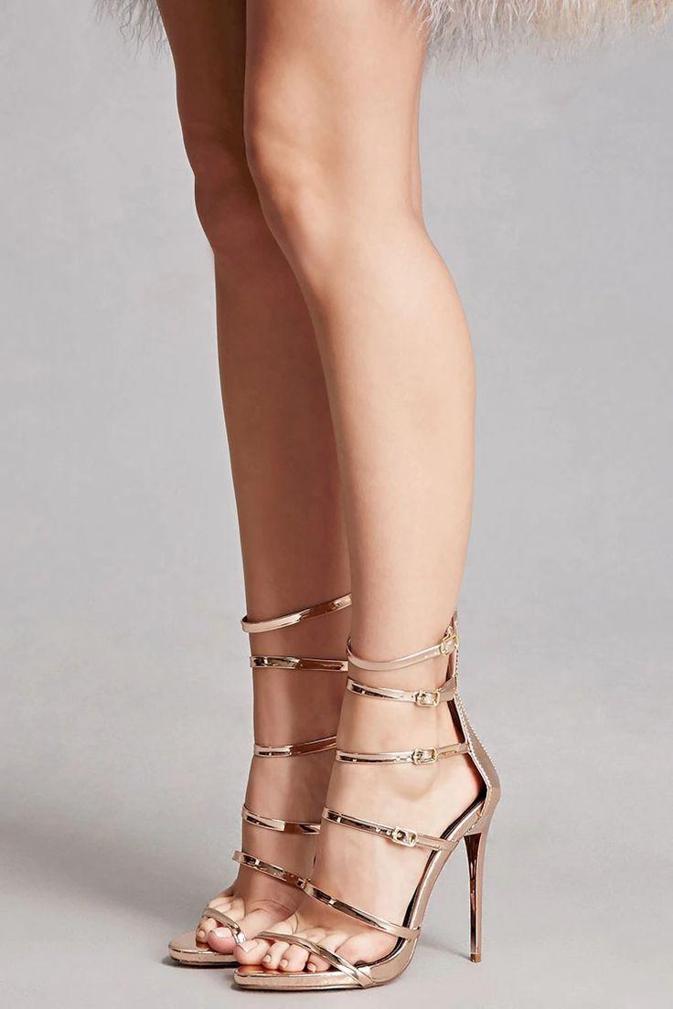 Strappy Metallic Stilettos