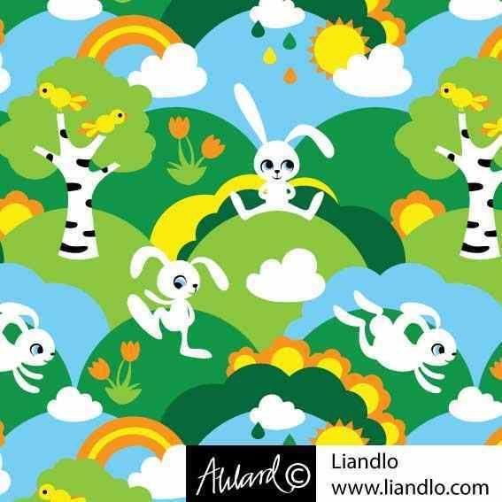 Baumwolljersey Little white Rabbit Hasen Blumen Skandinavisches Design Liandlo