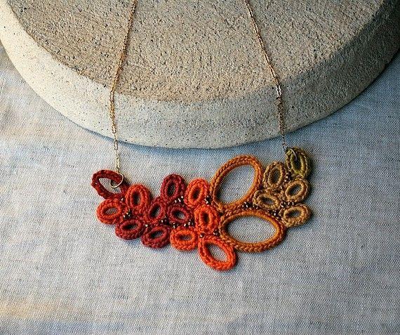 Saffron Leaves Crochet Necklace