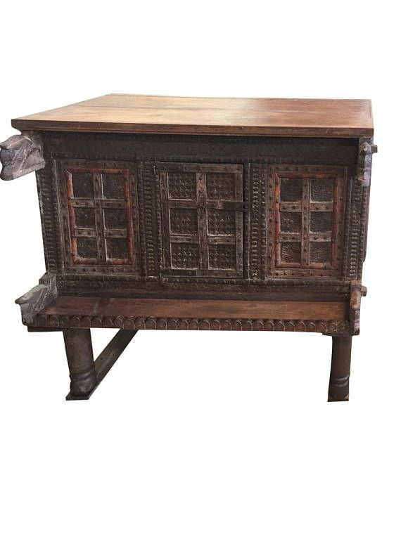 Antique Console Carved Iron nailed Chest Damchia Banjara