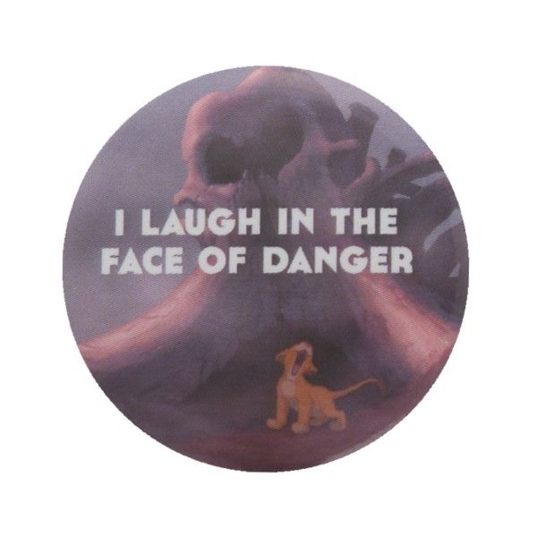 Disney The Lion King Simba Danger Pin   Hot Topic ($1.49) ❤ liked on Polyvore featuring jewelry, brooches, disney, pins, phrase, quotes, saying, text, lion jewelry et disney jewellery