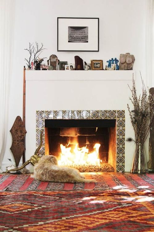 Image Via: A Well Traveled Woman: House Tours, Carpets Tile, Living Rooms, Decor Ideas, Dogs, Layered Rugs, Fireplaces Surroundings, Mosaics Tile, Fire Places