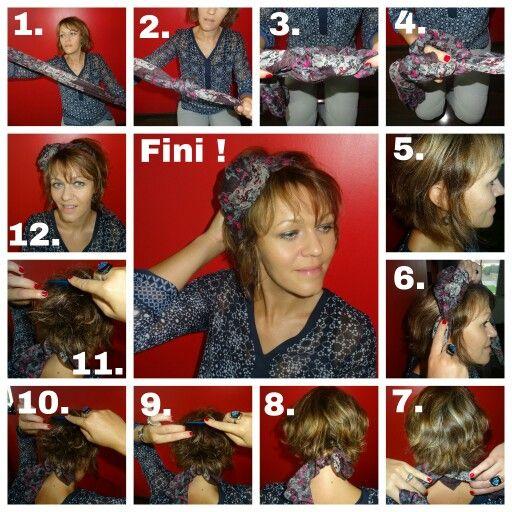 Tuto foulard cheveux court à découvrir sur latelierdefille.canalblog.com